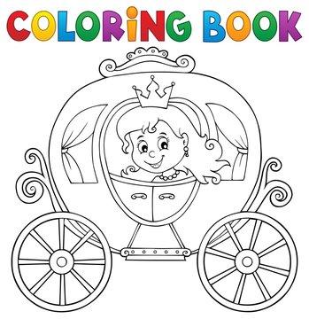 Coloring book princess carriage theme 1
