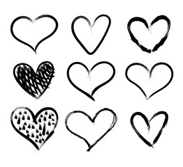 Vector Doodle Hand Drawn Hearts Set, Black Marker Drawings Isolated on White Background, Rough Sketches.