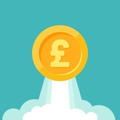 Gold pound sterling coin as rocket flies up. Currency strengthening and increasing of exchange rate.