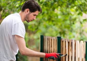 Handsome young man painting wooden surface with a brush