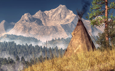 An Indian teepee (also spelled tipi and tepee) is pitched near the rocky mountians in the American Wild West. The Native American tent overlooks a forested valley below. 3D Rendering