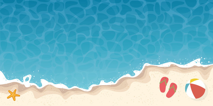 summer beach and ocean background banner with starfish and flip-flops vector illustration