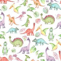 Watercolor dinosaurs pattern