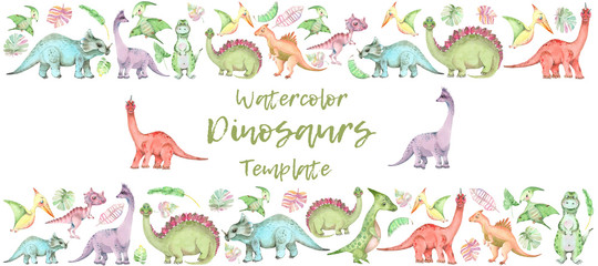 Watercolor dinosaurs banner