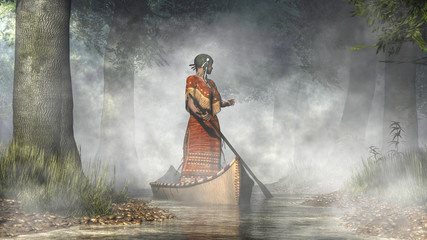 A Native American woman stands in a canoe that drifts out of the mists and down a small creek through a dense forest.  The Indian woman in a brown dress looks back over her shoulder. 3D Rendering