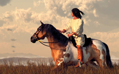 A Native American man rides his pinto through long grass in the plains of the American Wild West.  Off in the distance, smoke signals rise from low hills. 3D Rendering