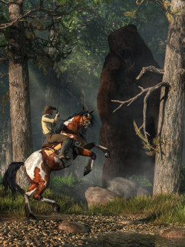 A cowboy on the back of a rearing horse with a gun in his hand encouters a massive monster grizzly bear in the forest. 3D Rendering