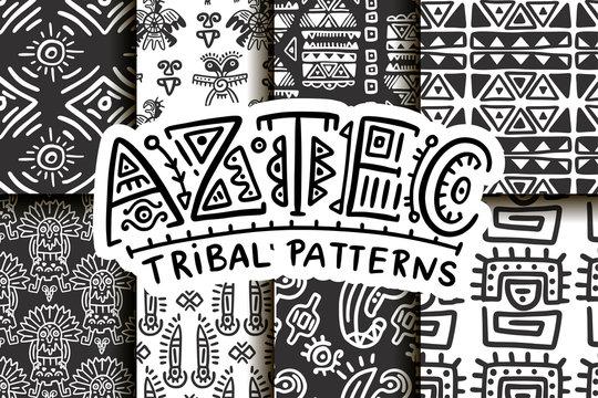 Seamless aztec vector pattern set. Tribal traditional indian fabric design collection. Folk vintage illustration.