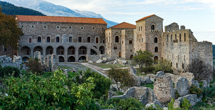 Part of the byzantine archaeological site of Mystras in Peloponnese, Greece. View of the  Despot's Palace and square