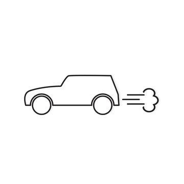 car emitting smoke icon- vector illustration