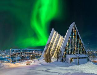 Foto op Aluminium Noorderlicht Norwegen Tromso Eismeerkathedrale Nordlicht