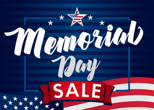Memorial Day sale banner. Remember and honor. Vector illustration Hand drawn text lettering with stars for discount of memorial day in USA. Calligraphic design for sale banner or poster