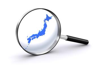虫眼鏡と日本地図
