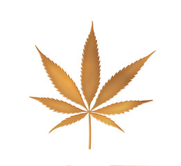 Cannabis leaf in gold