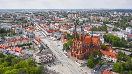 Obraz Bazylika katedralna Wniebowzięcia NMP w Białymstoku zlotu ptaka - fototapety do salonu