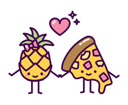 Pineapple pizza couple hawaii cute kawaii love