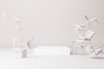 Product stand surrounding by a lot of white little chair. -3d render