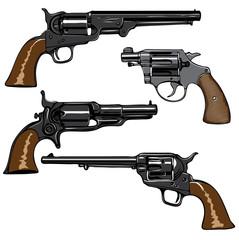 Vector image of old cartoon style pistols