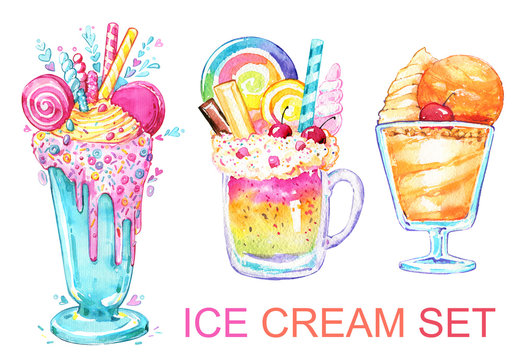 Cocktail ice cream sweet beautiful holiday watercolor isolated set