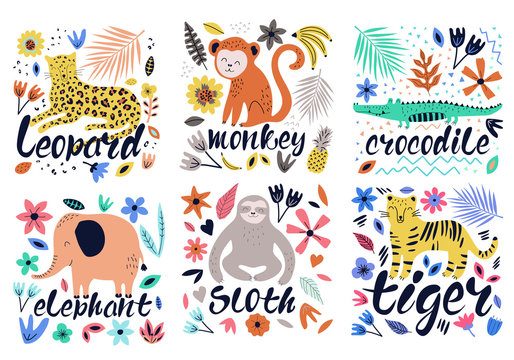 Hand drawn colorful collection of animals with flowers and leaves. Scandinavian style design. Vector illustration