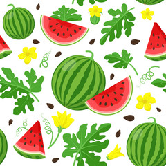 Watermelon seamless pattern in flat design. Watermelon slices, leaves, flowers and seeds, summer pattern illustration isolated on white background.