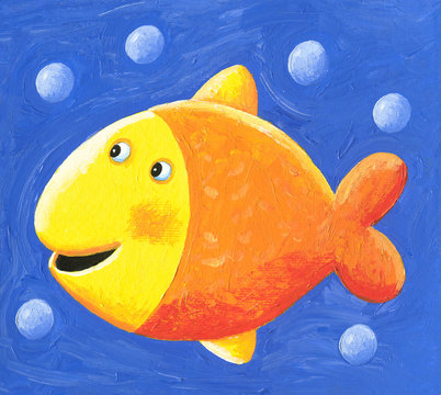 Funny cute yellow fish with bubbles
