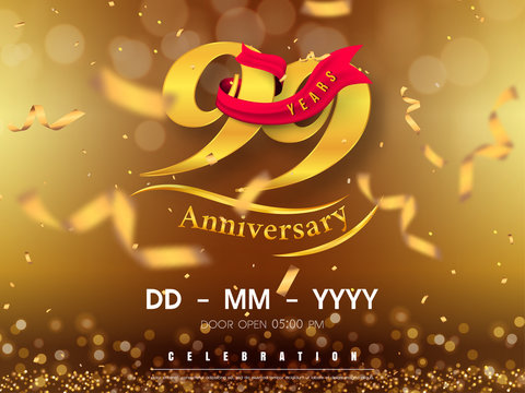 99 years anniversary logo template on gold background. 99th celebrating golden numbers with red ribbon vector and confetti isolated design elements