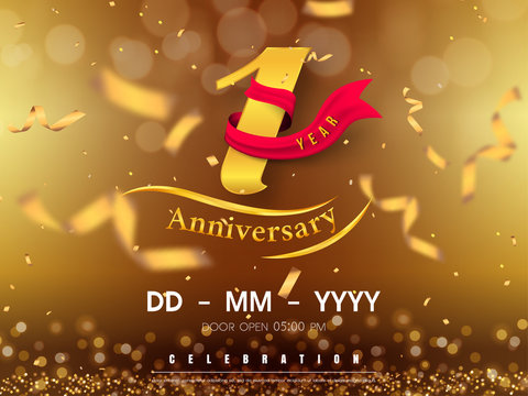 1 years anniversary logo template on gold background. 1st celebrating golden numbers with red ribbon vector and confetti isolated design elements