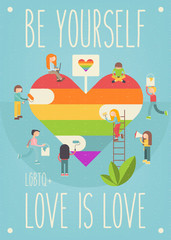 LGBT People Community Poster Design - Happy Pride. LGBTQ Group of Cartoon Cute People is painting Huge Rainbow Heart. Human rights. Vector Illustration. Template Card for Love Parade or Online Dating.