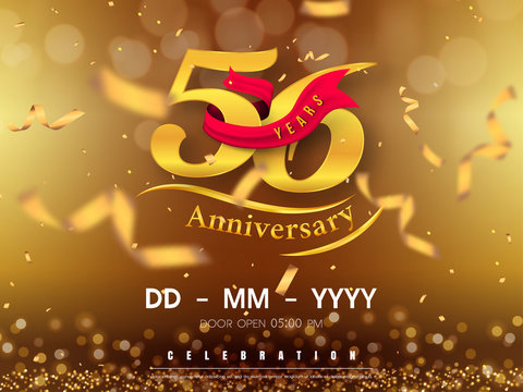 56 years anniversary logo template on gold background. 56th celebrating golden numbers with red ribbon vector and confetti isolated design elements