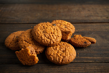 cookies on wooden table.