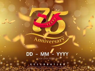 Obraz 75 years anniversary logo template on gold background. 75th celebrating golden numbers with red ribbon vector and confetti isolated design elements - fototapety do salonu