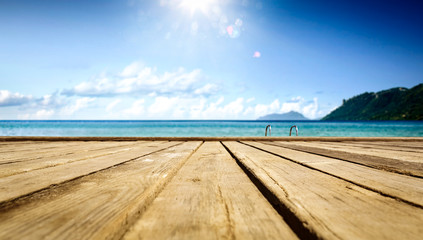 Wooden pier of  free space for your decoration and summer sunny day. Free space for your...