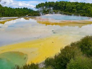Hot springs lake in Rotorua, New Zealand.