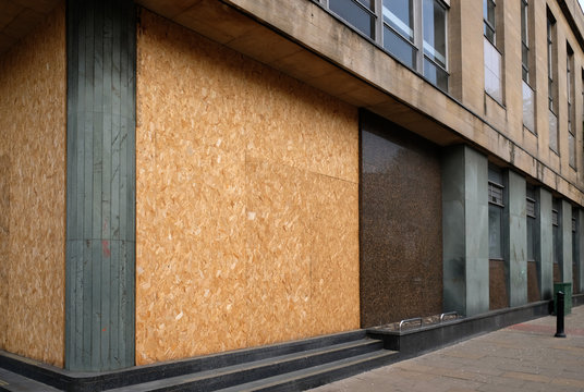 Empty boarded up property in major UK city centre.