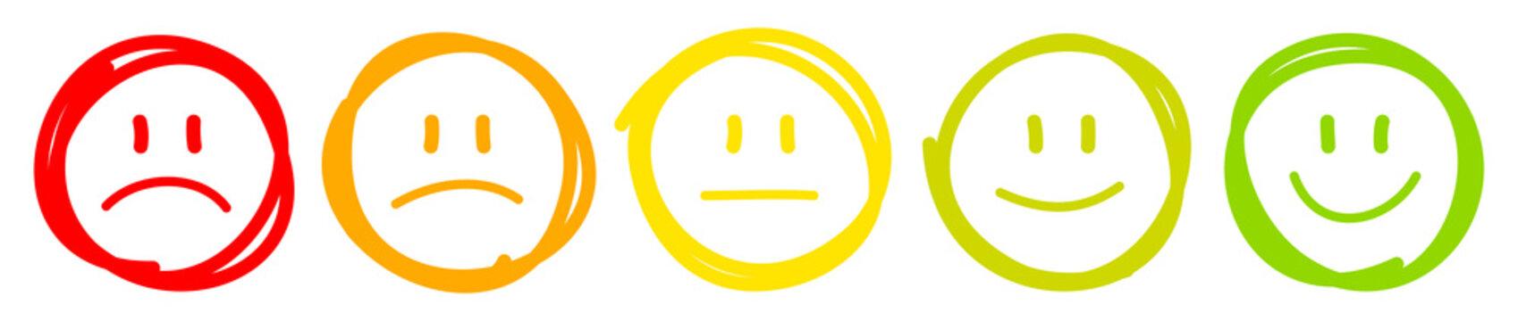 5 Handgezeichnete Gesichter Feedback/Stimmung Kontur