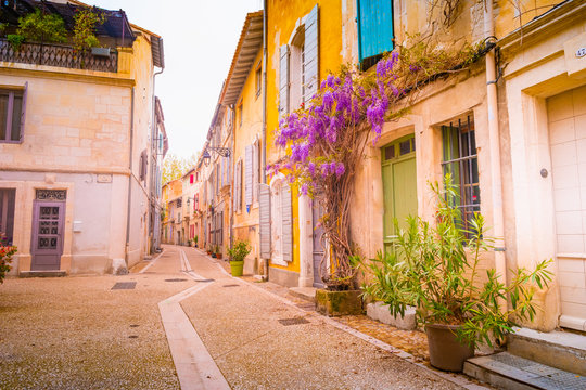 View of a narrow street in the historical center of Arles