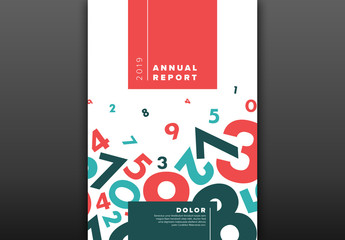 Annual Report Cover Layout with Teal and Red Accents
