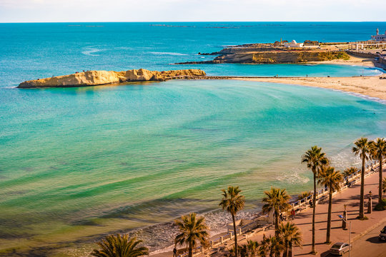 Monastir. Tunisia. Panoramic view of the city and the coast opens from the observation tower Ribat