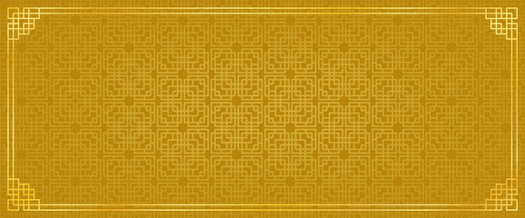 chinese new year banner, abstract oriental background, golden window inspiration, vector illustration  Fotomurales