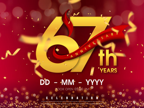 67 years anniversary logo template on gold background. 67th celebrating golden numbers with red ribbon vector and confetti isolated design elements