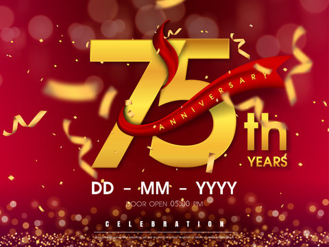 75 years anniversary logo template on gold background. 75th celebrating golden numbers with red ribbon vector and confetti isolated design elements