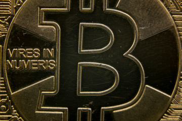 Bitcoin Crypto Macro. Electronic money exchange concept