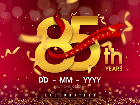 85 years anniversary logo template on gold background. 85th celebrating golden numbers with red ribbon vector and confetti isolated design elements