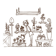 Wall Murals Doodle Girl watering flowers in her greenhouse. Flower beds. Hand draw. Vector illustration