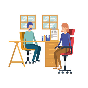 couple sitting in the work office with white background