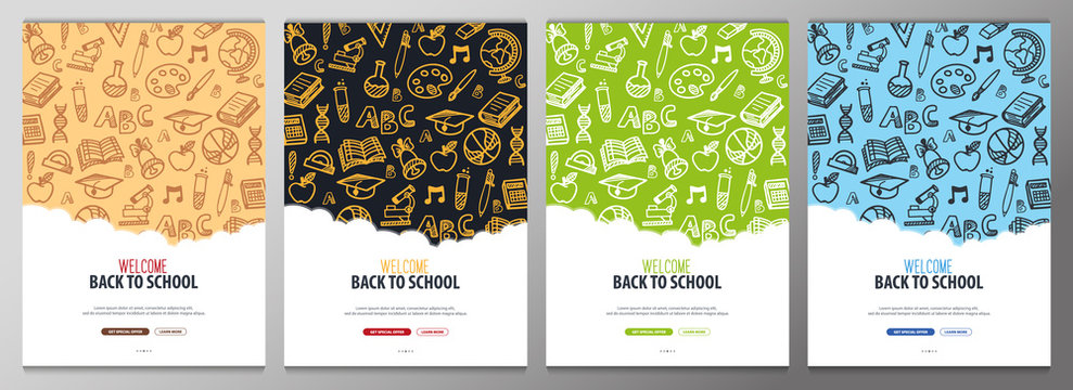 Set of Back to School banners with hand draw doodle background. Vector illustration.