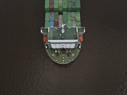 A huge export container ship shot from a high angle