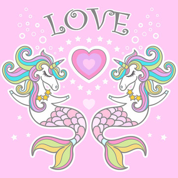 Love. Unicorn seahorse with heart vector illustration.Vector