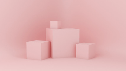 Pink white light background, studio and pedestal. 3d illustration, 3d rendering. Wall mural